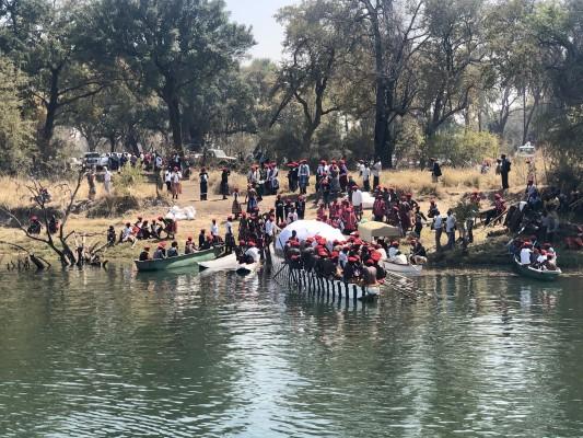 Rowing down the Zambezi River